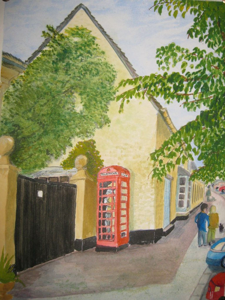 painting of phone box