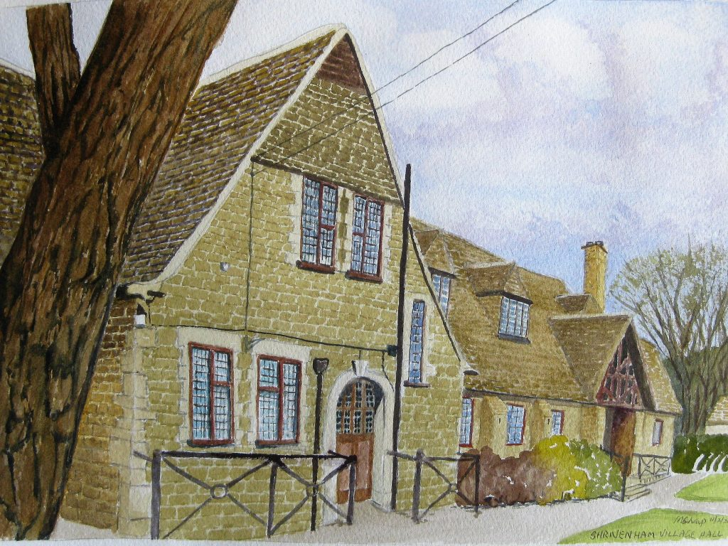 watercolour picture of village hall