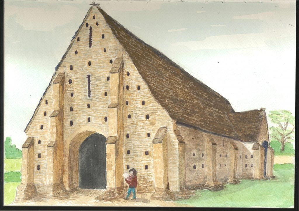 painting of Coxwell Barn